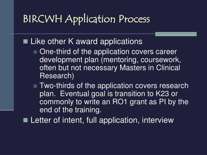BIRCWH Application Process