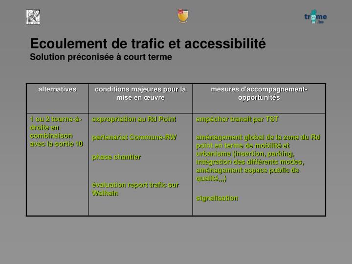 Ecoulement de trafic et accessibilité