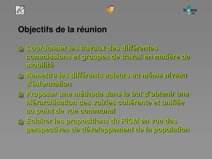 Objectifs de la réunion