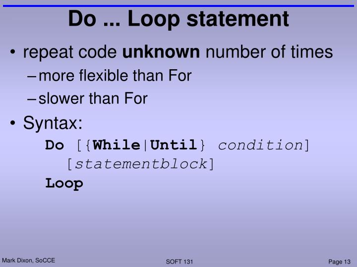 Do ... Loop statement