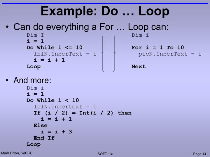 Example: Do … Loop