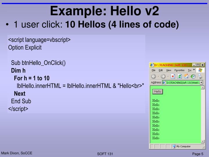 Example: Hello v2