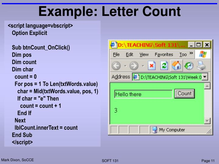 Example: Letter Count