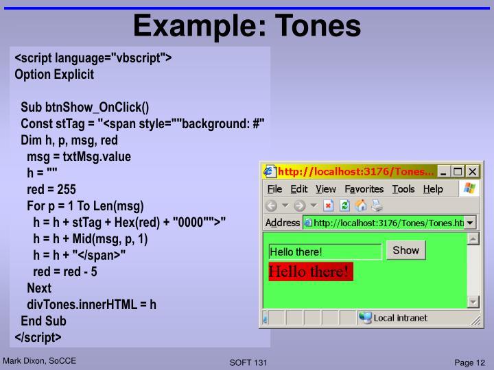 Example: Tones