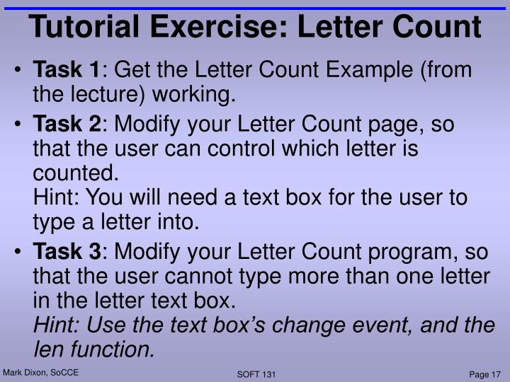 Tutorial Exercise: Letter Count