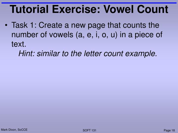 Tutorial Exercise: Vowel Count