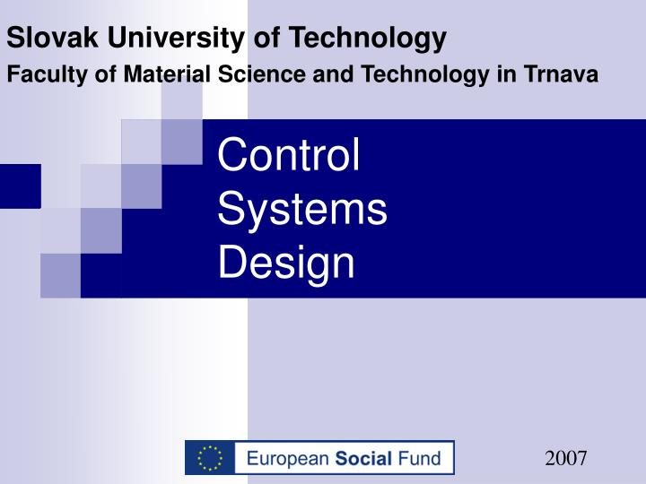 Control systems design