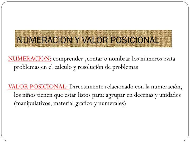 NUMERACION Y VALOR POSICIONAL