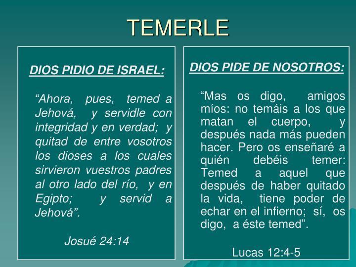 DIOS PIDIO DE ISRAEL: