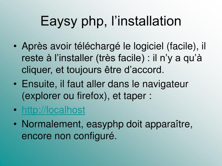 Eaysy php l installation