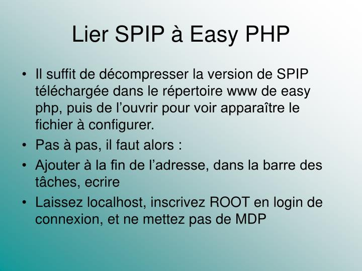 Lier SPIP à Easy PHP