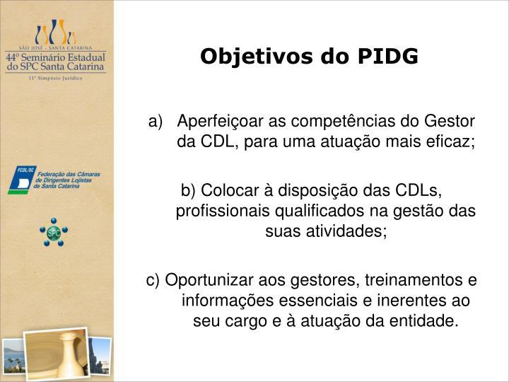 Objetivos do PIDG