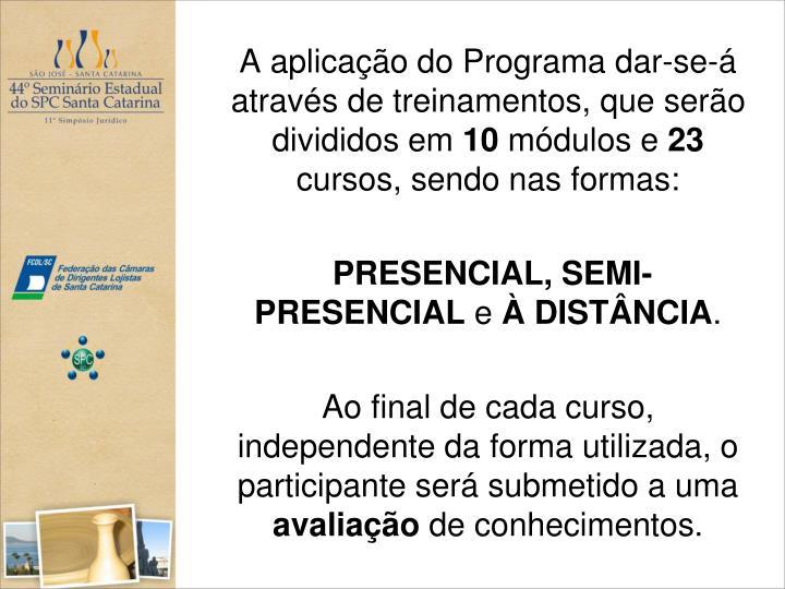 A aplicação do Programa dar-se-á através de treinamentos, que serão divididos em