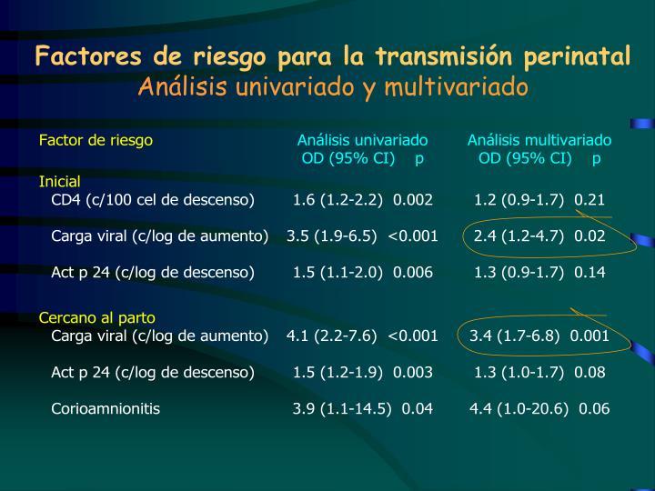 Factores de riesgo para la transmisión perinatal