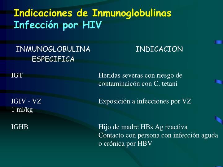 Indicaciones de Inmunoglobulinas