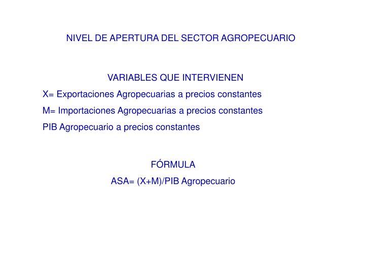 NIVEL DE APERTURA DEL SECTOR AGROPECUARIO