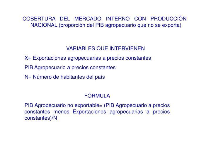 COBERTURA DEL MERCADO INTERNO CON PRODUCCIÓN NACIONAL (proporción del PIB agropecuario que no se exporta)
