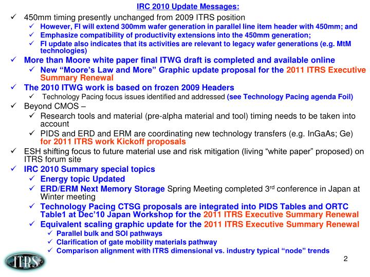 IRC 2010 Update Messages:
