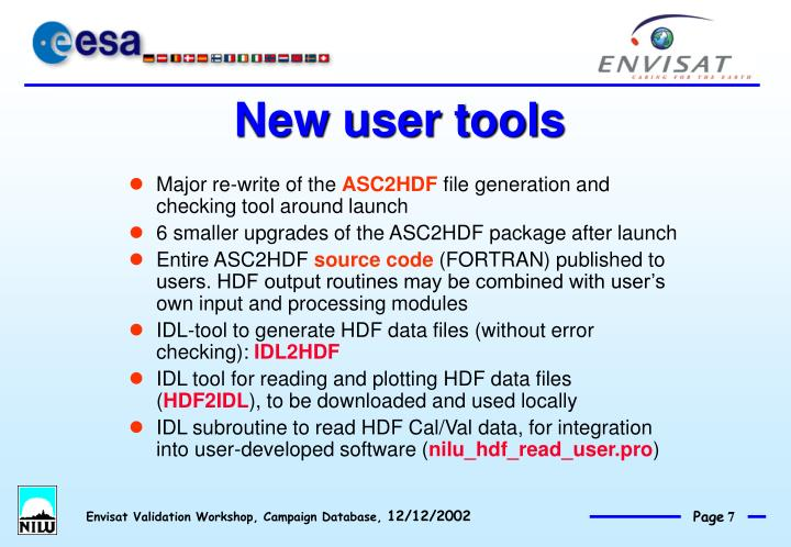 New user tools