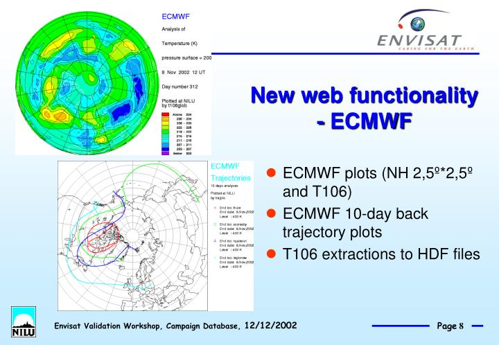 New web functionality - ECMWF