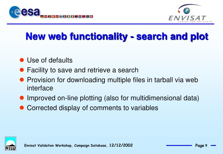 New web functionality - search and plot
