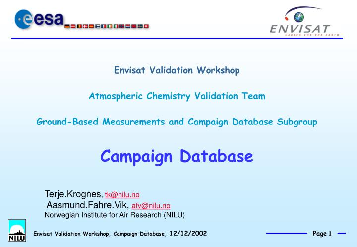 Envisat Validation Workshop