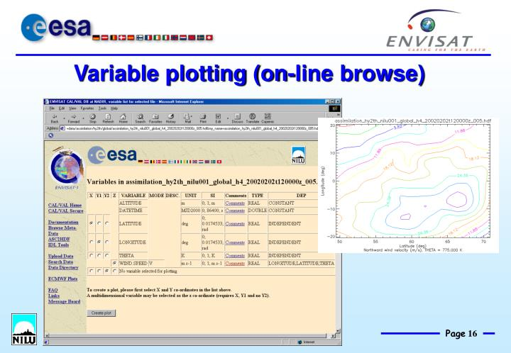 Variable plotting (on-line browse)