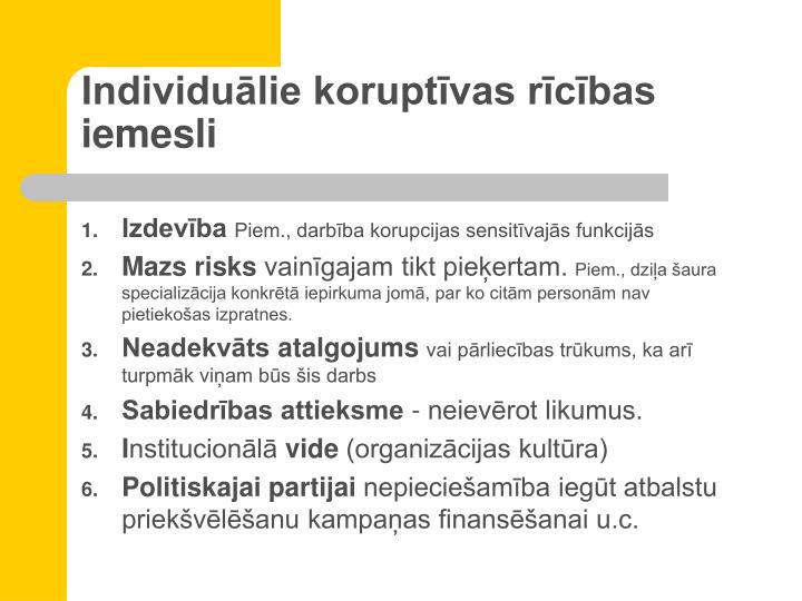 Individuālie koruptīvas rīcības iemesli