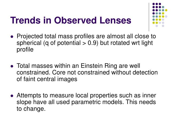Trends in Observed Lenses