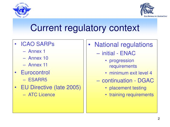 Current regulatory context