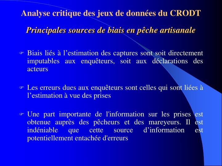 Analyse critique des jeux de données du CRODT
