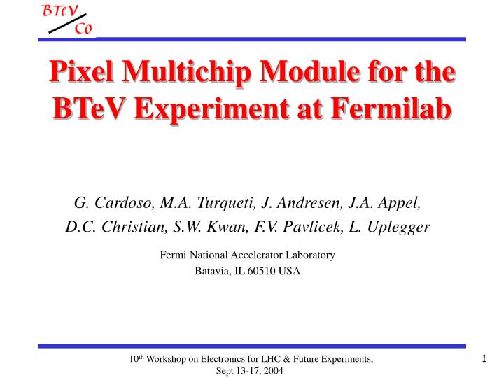 pixel multichip module for the btev experiment at fermilab
