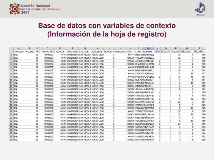Base de datos con variables de contexto