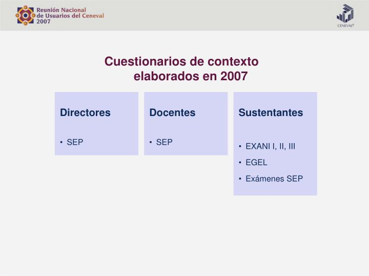 Cuestionarios de contexto elaborados en 2007