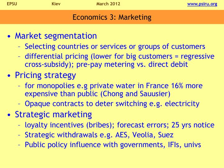 Economics 3: Marketing