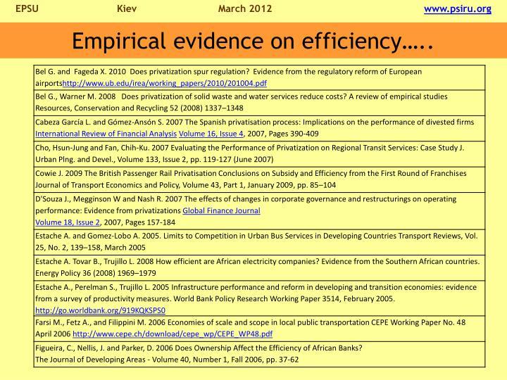 Empirical evidence on efficiency…..