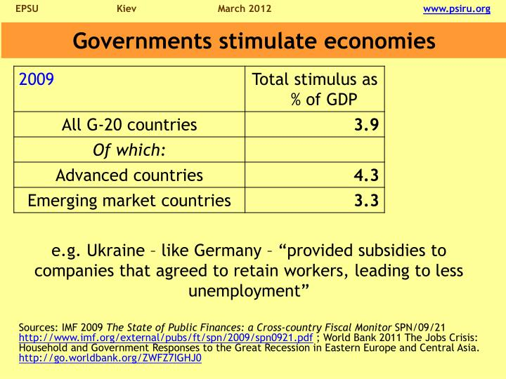 Governments stimulate economies