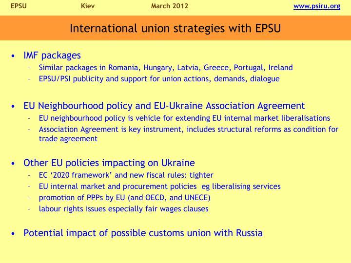 International union strategies with EPSU