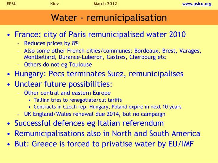 Water - remunicipalisation
