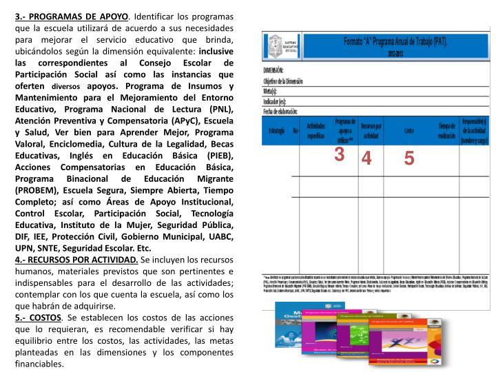 3.- PROGRAMAS DE APOYO