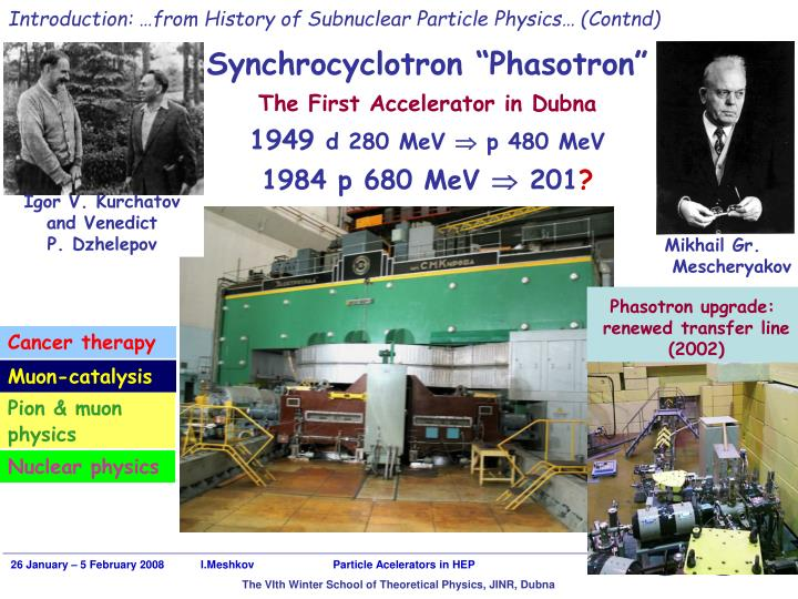 Introduction: …from History of Subnuclear Particle Physics… (Contnd)