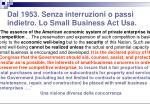 dal 1953 senza interruzioni o passi indietro lo small business act usa