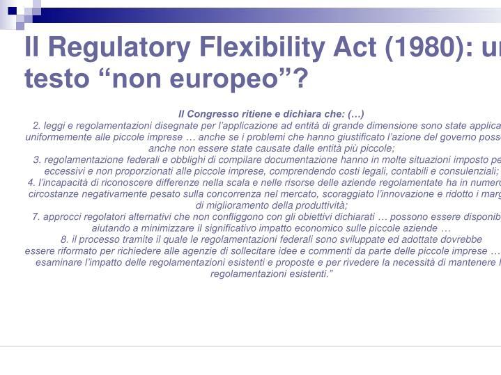 """Il Regulatory Flexibility Act (1980): un testo """"non europeo""""?"""