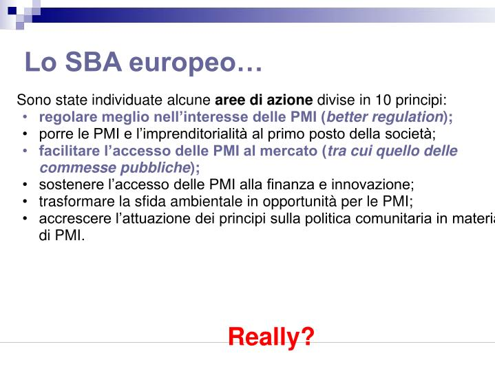 Lo SBA europeo…