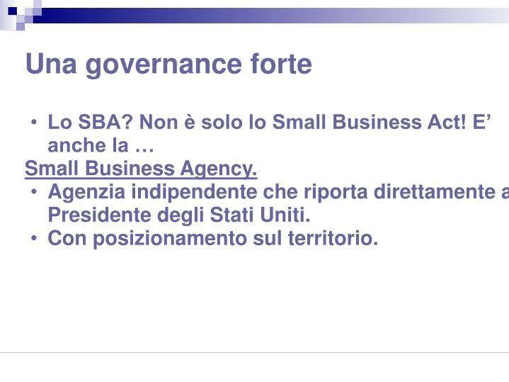 Una governance forte