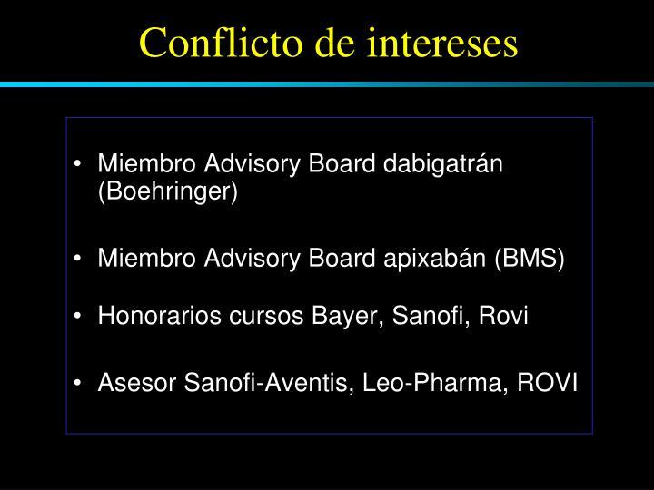 Miembro Advisory Board dabigatrán (Boehringer)
