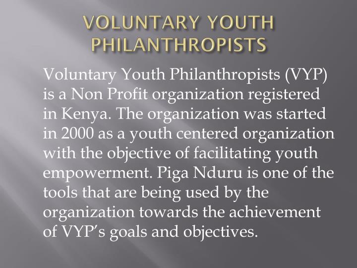 Voluntary youth philanthropists