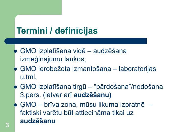 Termini / definīcijas