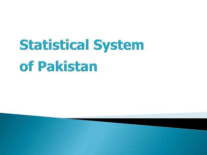 Statistical system of pakistan