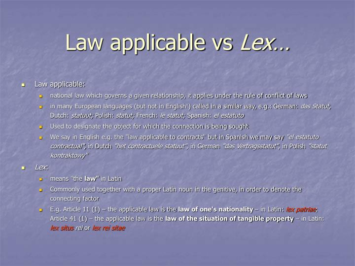 Law applicable vs